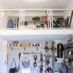 1 car garage, central Toronto - attic mezzanine overhead storage for 1.5 storey garage