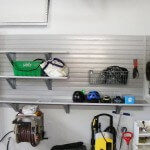 2 car garage oakville slatwall organization camlock hooks shelves hose reel drywall finish after