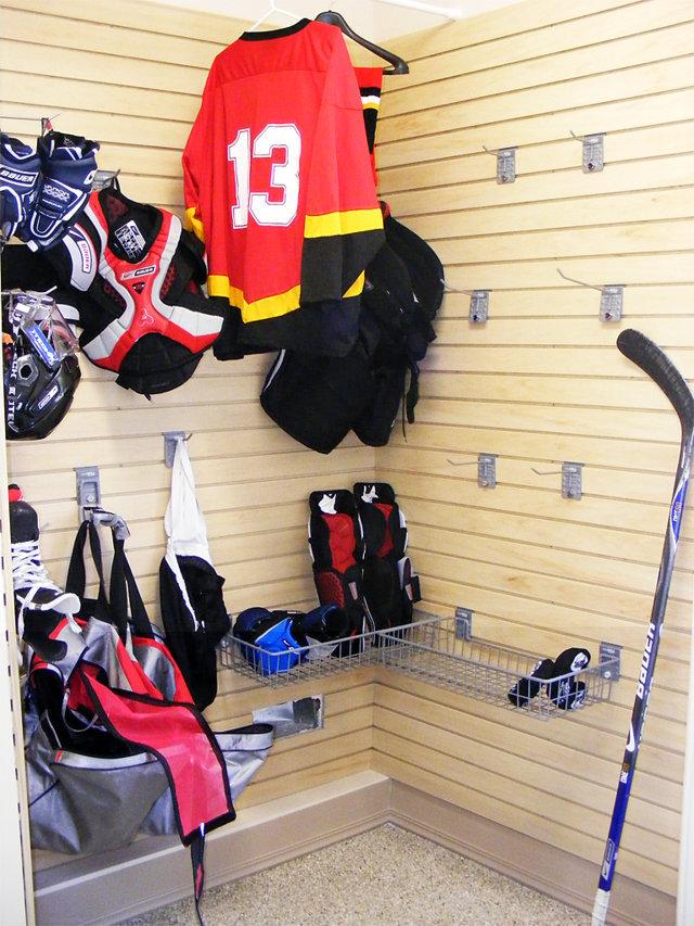Garage Storage Slatwall Organization System Camlock Hooks Bins Hockey Sports Equipment